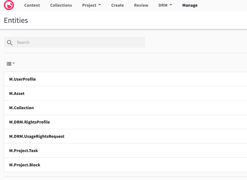 Screenshot of Entities page, listing Content Hub entities