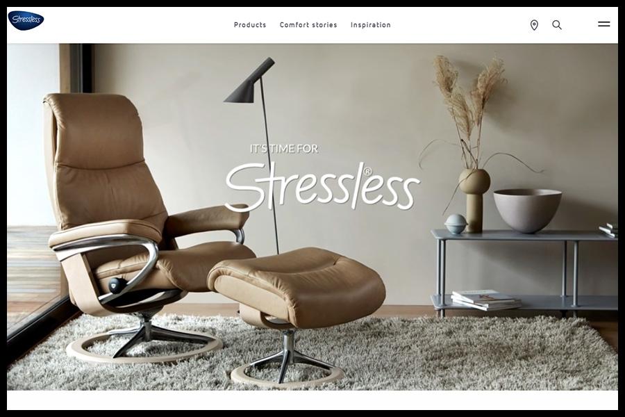 Ekornes Stressless Website Screenshot