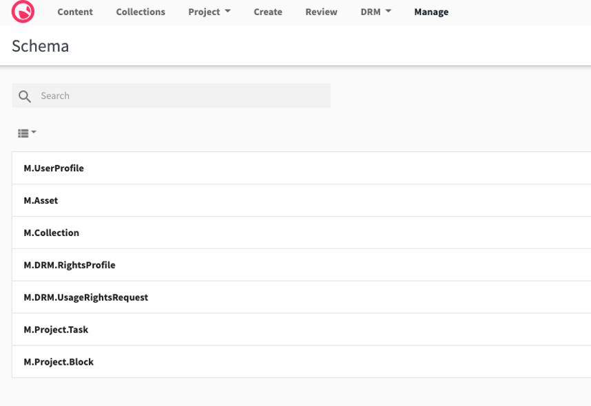 Screenshot of Schema page, listing Content Hub schemas